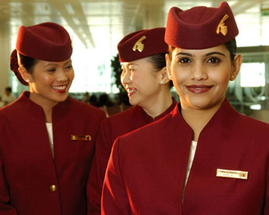 Cabin crew uniform for Qatar Airways - designed by Olino