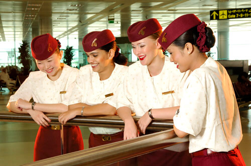 Flight attendant uniforms for Qatar Airways