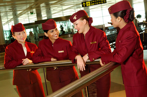 Custom crew uniform for Qatar Airways