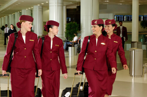 Cabin crew uniforms for Qatar Airways