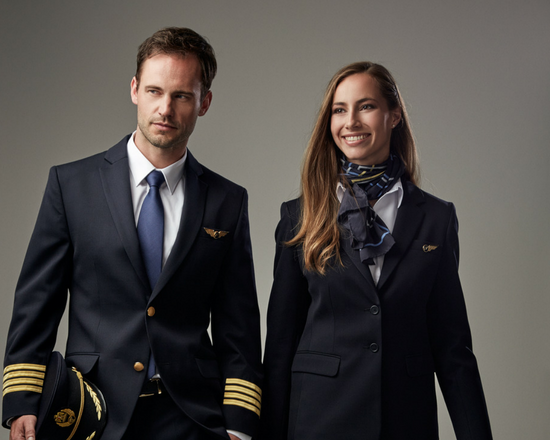 Customized airline uniforms for pilots and cabin crew
