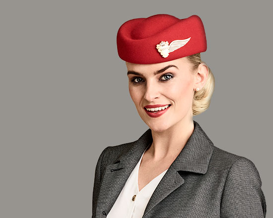 Airline cabin crew hats and pilot caps