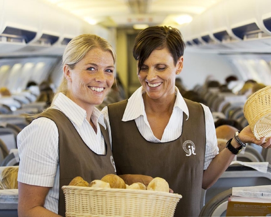 Customized airline uniform with shirts and aprons