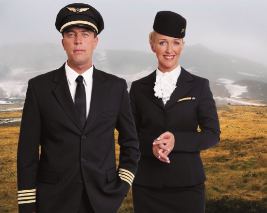 Designer uniforms for pilots and cabin crew